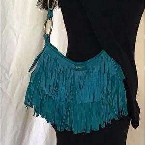 Yves Saint Laurent Turquoise Suede Fringe Bag
